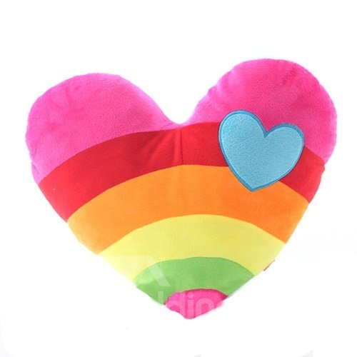 Sweet Rainbow and Cloud Spliced Heart Shaped PP Cotton Throw Pillow