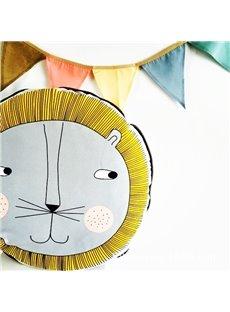 Popular Curious Lion Head with Golden Hair Design Cotton Baby Pillow