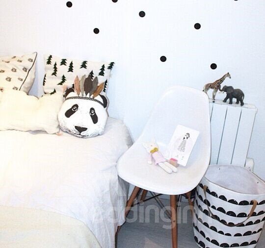 Unparalleled Panda Head with Feathers Design Cotton Baby Pillow