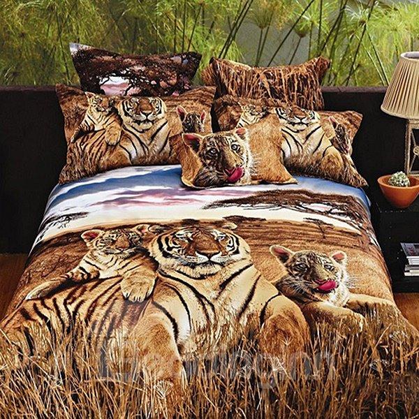 Powerful 3D Tiger Print Cotton 2-Piece Pillow Cases