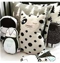 Manual Knitted Cotton Ogle Cat Shaped Throw Pillow