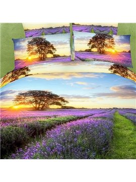 Romantic Lavender with Sunset Scene Cotton 2-Piece Pillow Cases