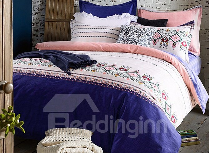 Ethnic Style Blue and White Color Block 4-Piece Cotton Bedding Sets