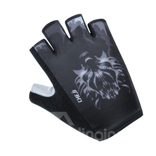 Male Black Wolf Breathable Anti-Slip Durable Mountain Bike Road Bike Cycling Gloves