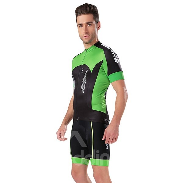 Male Red and Black Short Sleeve Bike Jersey Full Zipper Cycling Bib Suit