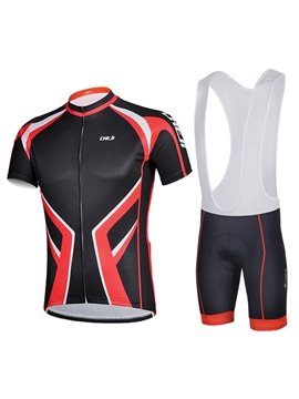 Male Black Breathable Short Sleeve Road Bike Jersey Full Zipper Cycling Bib Suit