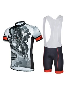 Male Dragon Pattern Gray Short Sleeve Jersey with Full Zipper Cycling Bib Suit