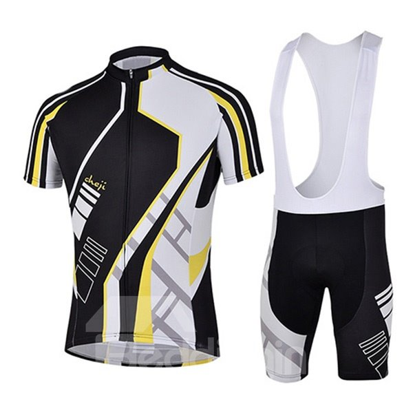 Male Black Short Sleeve Breathable Jersey with Full Zipper Cycling Bib Shorts Suit