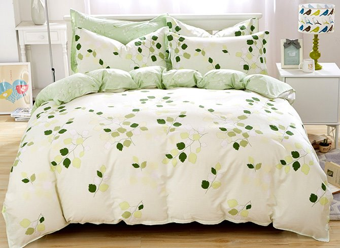 Fresh Style Green Leaves Print 4-Piece Cotton Duvet Cover Sets