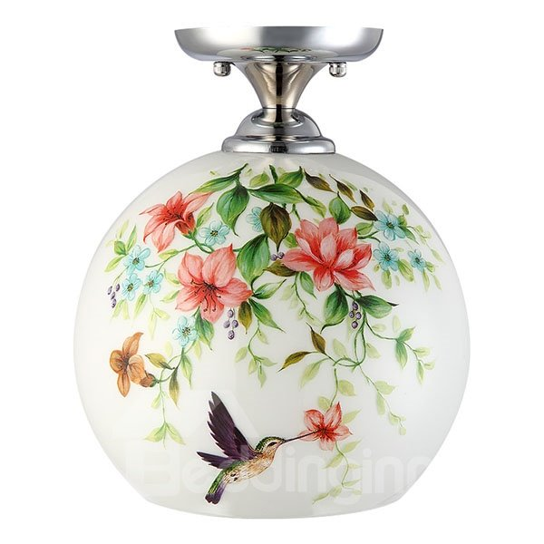 White European Style Singing Bird and Fragrant Flowers Ceiling Light
