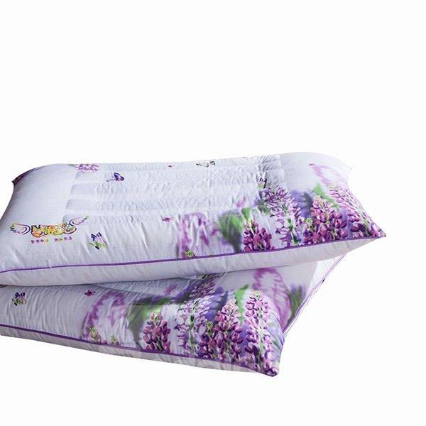 Romantic Elegant Lavender Print Polyester 2-Piece Pillows