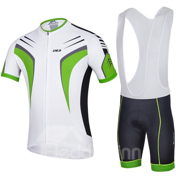 Male Breathable White Short Sleeve Jersey with Full Zipper Cycling Bib Shorts Suit