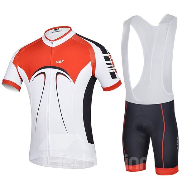 Male Breathable Short Sleeve Jersey with Full Zipper Cycling Bib Shorts Suit