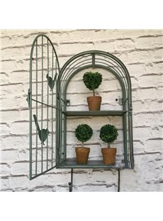 Green Iron Birdcage Shape Flower Shelf Decorative Wall Decoration