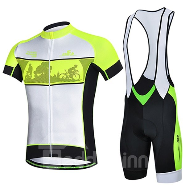 Male White Breathable Short Sleeve Jersey with Full Zipper Quick-Dry Cycling Bib Suit