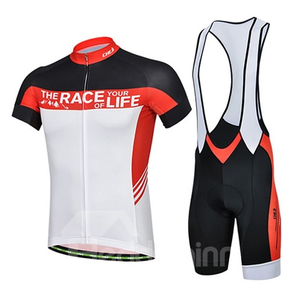Male Breathable Short Sleeve Jersey Quick-Dry Cycling Bib Shorts Suit