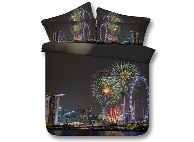 Gorgeous Fireworks 3D Digital Printing 4-Piece Bedding Sets