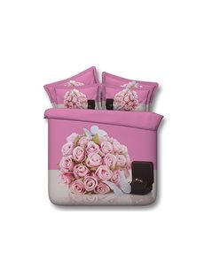 Sweet Pink Rose and Ring 3D Digital Printing 4-Piece Bedding Sets