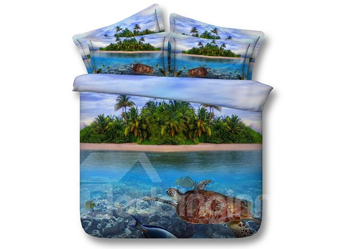 Beautiful Turtle and Isle 3D Digital Printing 4-Piece Bedding Sets