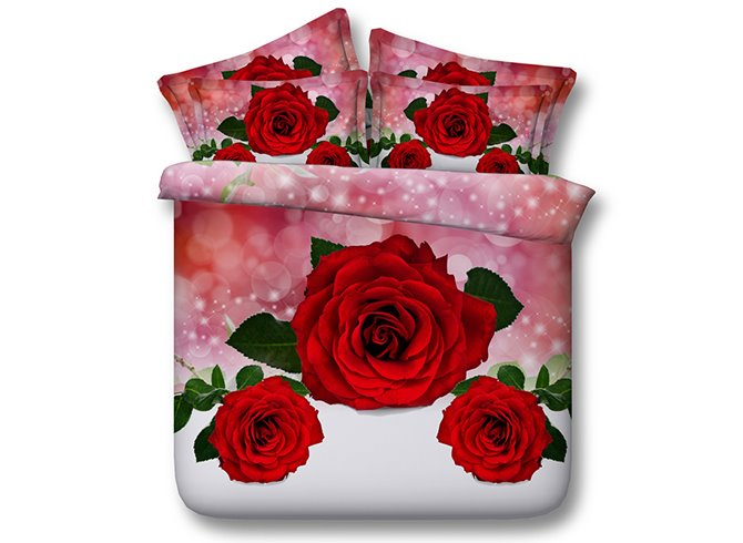 Excellent Red Roses 3D Digital Printing 4-Piece Bedding Sets
