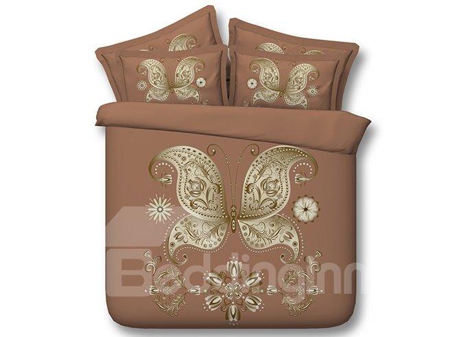 Splendid Golden Butterfly Apricot 3D Digital Printing 4-Piece Bedding Sets