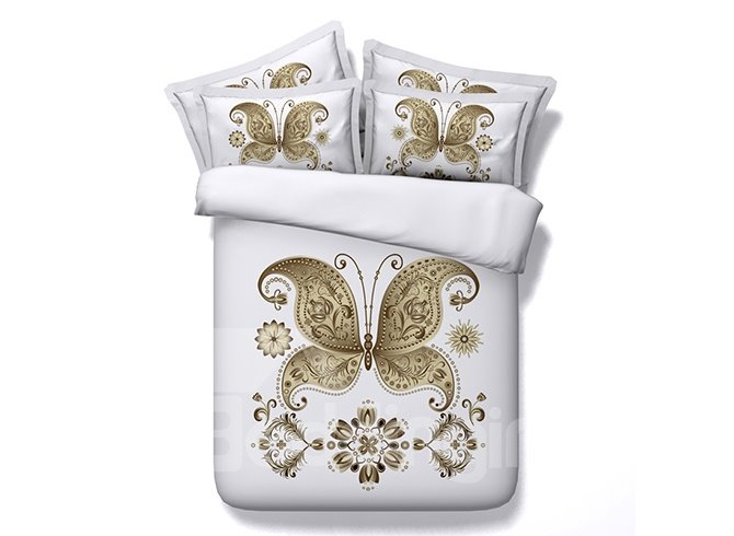 Elegant Golden Butterfly 3D Digital Printing 4-Piece Duvet Cover Sets