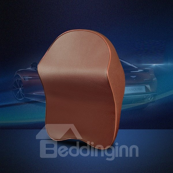 Luxurious Genuine Leather Durable Classic Design Headrest Car Pillow