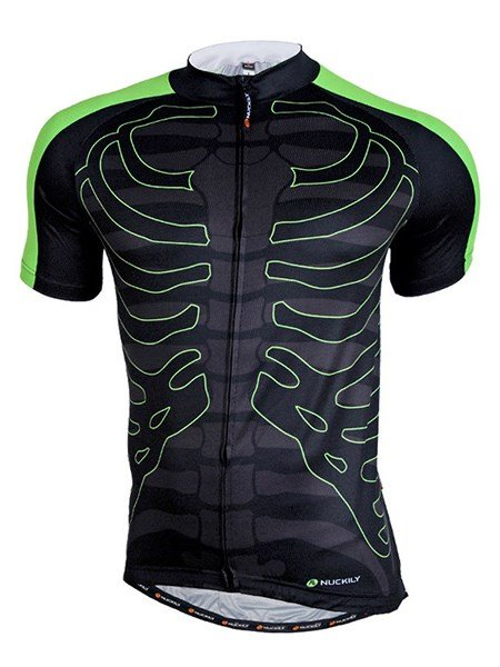 Male Black Skeleton Pattern Breathable Road Bike Jersey Full Zipper Cycling Jersey