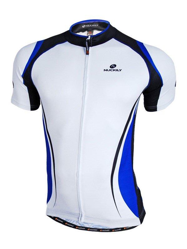 Male White Streamline Breathable Road Bike Jersey Full Zipper Cycling Jersey