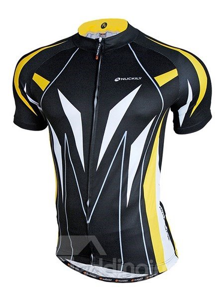 Male Black Full Zipper Road Bike Jersey Breathable Quick-Dry Cycling Jersey