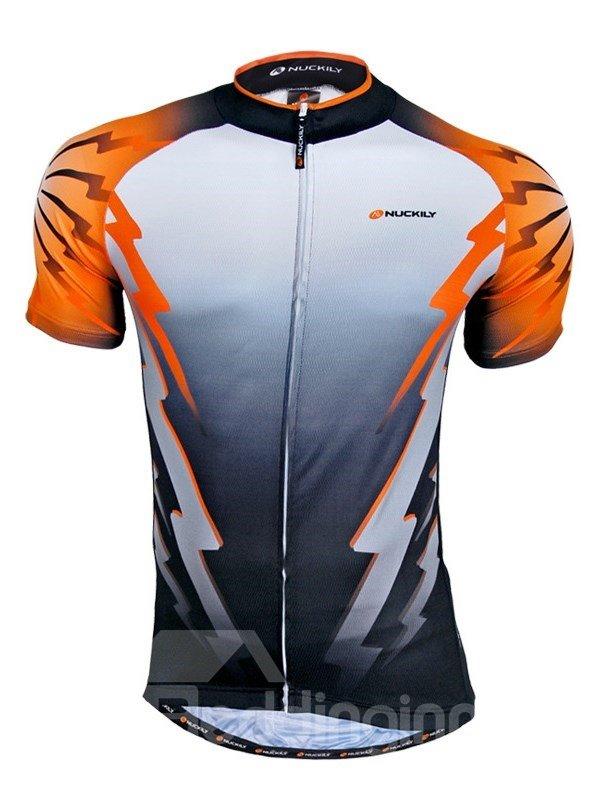 Male Orange Flash Pattern Breathable Bike Jersey Full Zipper Quick-Dry Cycling Jersey