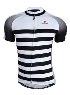 Male Stripe Pattern Breathable Full Zipper Road Bike Jersey Quick-Dry Cycling Jersey