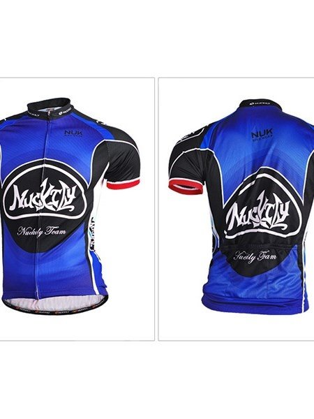 Male Blue and Black Breathable Bike Jersey Full Zipper Quick-Dry Cycling Jersey