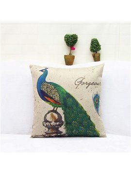 Exquisite Peacock Reactive Printing Square Throw Pillow Case