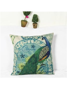 Beautiful Peacock Reactive Printing Square Throw Pillow Case