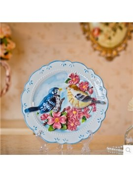 Round Blue Birds and Flowers Ceramic Plate Desktop Decoration Painted Pottery