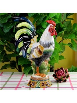 Creative Ceramic Cock Shape Desktop Decoration Painted Pottery