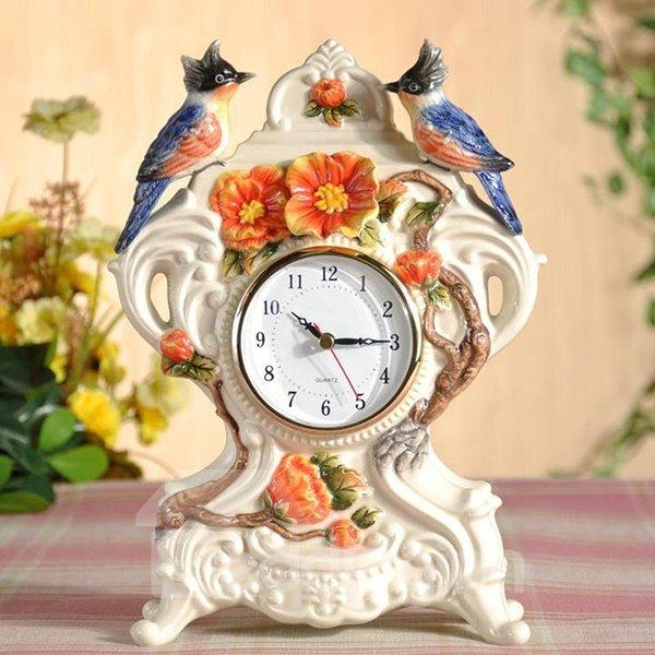 European Style Clamator Coromandus and Camellia Wall Clock Painted Pottery