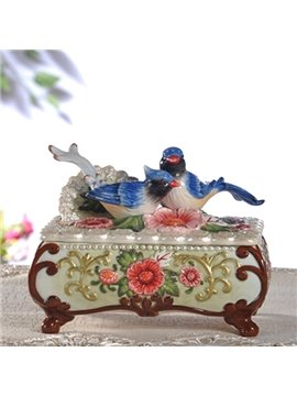 Decorative Ceramic Magpie and Flower Pattern Jewellery Box Painted Pottery