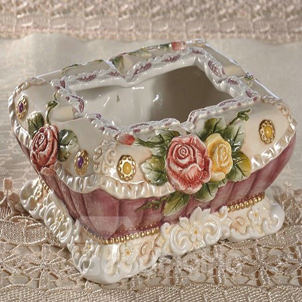 Simple Style Flower Pattern Ashtray Painted Pottery