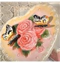 Pink Ceramic Heart Shape Jewelry Box Painted Pottery