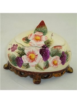 Ellipse Ceramic Flower Pattern Jewellery Box Painted Pottery