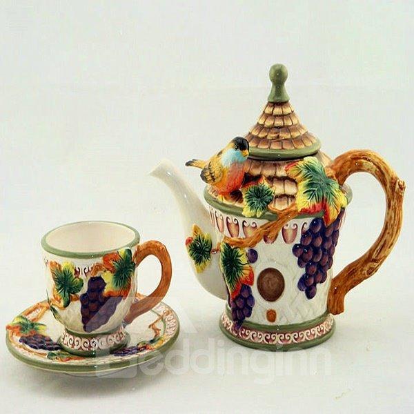 Wonderful Ceramic Grape Pattern Coffee Mug Set Painted Pottery