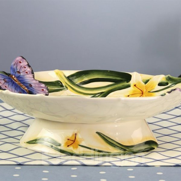 White Ceramic Flower and Butterfly Fruit Plate Painted Pottery