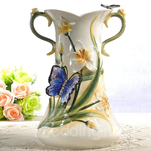 Ceramic Greenery Pattern Flower Vase Painted Pottery