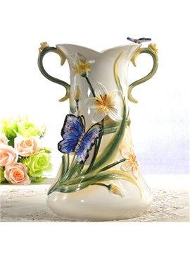 Ceramic Greenery Pattern Flower Vase Painted Pottery