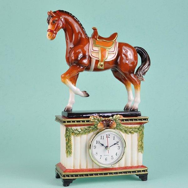 Creative Ceramic Horse Desktop Clock Painted Pottery 12194977