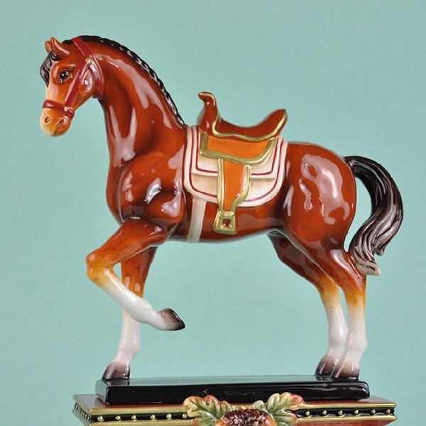 Creative Ceramic Horse Desktop Clock Painted Pottery