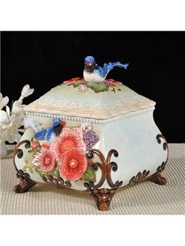 Gorgeous Magpie and Flower Pattern Jewelry Box Painted Pottery