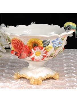 Exquisite Ceramic Flower Pattern Compote Painted Pottery